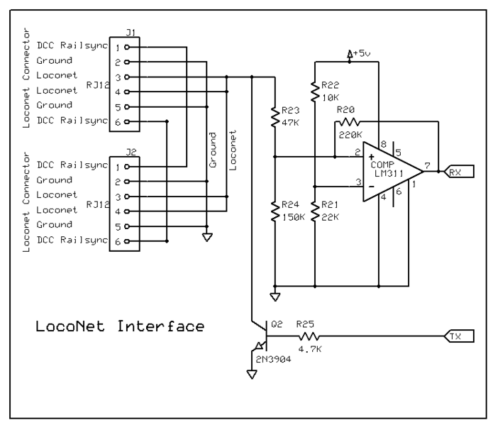John Plocher's LocoNet Interface schematic